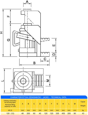 DOSTAWA GRATIS! 62725744 Podnośnik z bocznym podnoszeniem (udźwig: 12T)